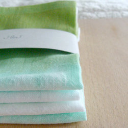 Green Ombré Dip-Dyed Cotton Flour Sack Napkins by Jac & Jil - The dreamy hues of these ombré tea towels would make a lovely addition to any kitchen.