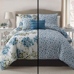 Bed In A Bag - 5pc Luxury Carolina Blue/ Ivory Reversible Comforter Set - Spring into style with this beautiful five piece floral reversible comforter set. The comforter, shams and decorative pillows coordinate perfectly and give your room the perfect pop of color.  Machine Washable/ 100% Polyester