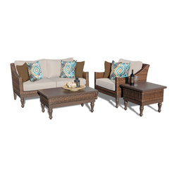 TKC - Soho 4 Piece Outdoor Wicker Patio Furniture Set 04a 2 for 1 Cover Set - Features: