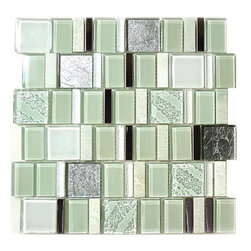 """Euro - Green Glossy Glass and Stone - Transform any room with these unique and inspired Green Glossy Glass and Stone tiles. Whether you are looking to infuse your decor with something classic or contemporary, this artful blend lends the perfect ambience. Both distinctive and durable, these tiles can be used in myriad applications, be it backsplashes, bathrooms, fireplaces, walls, even ceilings and floors. Incorporate these top quality artisan tiles for a gorgeous and dramatic effect.    Sheet size:  11 5/8"""" x 11 1/2""""   Tile Size:  1 1/8"""" x 1 7/8""""  1 7/8"""" x 1 7/8""""   Tiles per sheet:  66    Tile thickness:  1/4""""   Grout Joints:  1/8""""   Sheet Mount:  Mesh Backed     Sold by the sheet"""