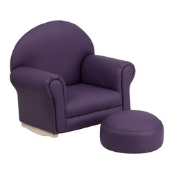 Flash Furniture - Flash Furniture Kids Purple Vinyl Rocker Chair and Footrest - Kids will now get to enjoy furniture designed specifically for their size! This charming set is sure to become your child's favorite chair. The rocker base will allow kids to gently rock while watching TV or reading their favorite book. This portable chair is great for seating in any room. The vinyl upholstery ensures easy cleaning and will hold up against your active child.