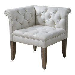"Uttermost - Tahtesa Corner Chair - Classic, chesterfield tufting and pleated roll arms in a bright ecru, textural linen blend, set in confident style on robust yet shapely tapered legs. Showing both fine wood grain and layers of hand finishing and distressing, this chair embodies timeworn, ageless elegance. Seat height is 19.5"". Bulbs Included: No"