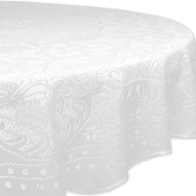 Design Imports - Round Rosebud Lace Tablecloth - Add a sweet floral touch to dining room décor with this eye-catching tablecloth. It's a great way to keep tables free from dings and scratches.   63'' diameter 100% polyester Machine wash; tumble dry Imported