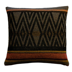 Pillow Decor Ltd. - Pillow Decor - Kilim Country 19x19 Tapestry Throw Pillow - This more coarsely textured cotton blend tapestry throw pillow does well to imitate the feel of a traditional heavy kilim weave. A deep black and green zigzag pattern is framed by lighter horizontal stripes in ochre, rust and deep red. This rich tones of the pillow would make it an ideal accent in a lake house, country home or any setting that needs the warm grounding effect of these deep earthy tones. It is backed with a black cotton canvas fabric.