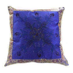 Banarsi Designs - Hand Painted Floral Pillow Cover, Set of 2, King Blue - Transform your pillows into a piece of art with our gorgeous floral Hand Painted Deluxe Pillow Cover Set from our Banarsi Designs collection.