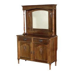 Antiques - Antique Walnut Colonial Mirror Buffet Sideboard Server - Walnut finish. Country of Origin: England. Circa: 1899. Scalloped frieze. Beveled mirror. Turned columns. 2 Dovetail drawers. Brass pulls. Cabinet w/ 1 removable shelf. Shelves & drawers have removable wallpaper lining. 2 Paneled doors. Turned tapered legs. Hardwood construction. Colonial style. Condition:  It is in good condition, however it does have wood imperfections including scratches, chips, wood separations, the mirror has some hazing that is mostly visible against the dark. One of the cabinet doors tends to stay slightly open and it's pull is damaged.