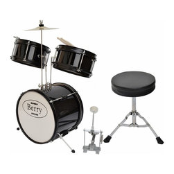 Berry Toys - Berry Toys Kids Small Drum Set - Black - MKMU-3KS-BLK - Shop for Toy Instruments from Hayneedle.com! Kids don't often have any difficulty making noise but the Berry Toys Kids Small Drum Set - Black turns that noise into bona fide music. This play set gets kids involved in music education early when their spongelike learning potential is at its peak (and their bedtime is still conveniently well before the rest of the neighborhood's). Children who take up instruments early are shown to develop not just musical aptitude quickly but an ability to focus on and absorb other disciplines as well. This drum set allows kids to explore sound through a natural percussive inclination which hammers home cause-and-effect relationships. This complete drum kit comes with absolutely everything your child needs to play right away including sticks throne and drum key.Drum MeasurementsBase drum: 12-in. diam.Tom toms: 8-in. diam.Cymbal: 8-in. diam.Base drum pedal: 10L x 10H in.Throne: 9 diam. x 14H in.; seat: 2 in. thickAbout Berry ToysBased in Chino Hills California Berry Toys is a leading manufacturer of children's toys. Berry Toys aims to educate children through play and their toy selection includes play kitchens play foods musical instruments play tools and more. If you want affordable pricing quality customer service and educational toys that are manufactured according to the highest standards Berry Toys can deliver.
