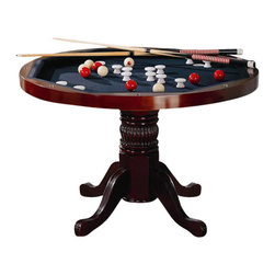 Coaster - Coaster Mitchell 5 Piece 3-in-1 Game Table Set in Cherry - Coaster - Poker Tables - 100201PKG - Coaster Mitchell 5 Piece 3-in-1 Game Table Set in Cherry