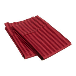 """400 Thread Count Egyptian Cotton Standard Burgundy Stripe Pillowcase Set - Our 400 Thread Count Pillowcase Sets offers more luxury than our 300TC yet still at an affordable price. They are composed of premium, long-staple cotton and have a """"Sateen"""" finish as they are woven to display a lustrous sheen that resembles satin. Luxury at an affordable price! Set includes:  (2) Pillowcases 20""""x30"""" each."""