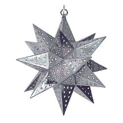 Mexican Artisans - Natural Tin Star Light - Our small natural punched tin hanging star lamps are an easy way to update your southwest, rustic, or Spanish colonial style home. They can also be used as outdoor light fixtures for your patio or garden decor. These imported hanging star lights are handcrafted in Mexico by talented tinsmiths. Illuminate your own space or share this beauty with friends and family and give a tin hanging star as a gift.Since each star fixture is hand crafted, color and finish may vary slightly from whats pictured here. Chain and ceiling plates sold separately. Accept up to 100w bulbs. (60w Recommended)