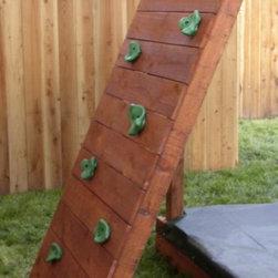 Swing Set Additions - Redwood Rock Climbing Wall - 5 Ft Redwood Rock Climbing Wall
