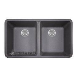 PolarisSinks - Polaris P208S Silver Astragranite Double Equal Bowl Kitchen Sink - Our Granite sinks come in four beautiful colors to match any countertop; black, white, mocha and beige. Our Granite line is made with 80% Quartzite and 20% Acrylic. They also have silver ions in the sink which kills 99% of bacteria on contact. Granite sinks are the most durable option for a kitchen sinks. They are extremely scratch resistant, can with stand heat up to 550 Degrees and are unaffected by household acids and cleaners. The granite is also completely stain resistant. The acrylic acts as a natural sound dampener making the sinks very quiet. Our Granite sinks are covered by a Limited lifetime warranty. Each sink come with a cardboard cutout template and mounting hardware.