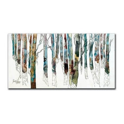 """Birch I 12x24 Print - """"Birch I"""" is a landscape canvas giclee by Cheri Greer.  This 12x24 canvas is gallery wrapped. We take the fine art canvas and stretch it over a wooden frame, adhering the canvas to the backside of the frame. The canvas actually wraps around the edges of the frame, giving your print the look of a fine piece of art, such as you might find in an art gallery. There is no need for a picture frame. Your piece of art is ready to hang or lean against a wall, or display on an easel."""
