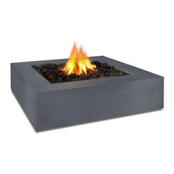 "Real Flame - Real Flame Mezzo Square Propane Fire Pit - Flint Gray - Define your outdoor space with the clean design of a Real Flame Mezzo Square Fire Table. Cast from a high performance, lightweight fiber-concrete with an outdoor safe finish, this fire table comes complete with lava rock filler and a weatherproof cover for when the table is not in use. The Mezzo Collection carries an ETL Certification and features an electronic ignition. Collection available in Flint Grey or Antique White finishes.-Burns Liquid Propane, rated at up to 60,000 BTUs of heat-Certified for use with standard 20lb LP tank, for up to 7 hours (high setting) or 22 hours (low setting) of burn time.-Cast from painted fiber-concrete and heavy gage steel.-Limited Warranty: 90 days on fiber-concrete finish, 1 year for all components-Basic assembly required-Assembled Dimensions: 42.25"" L x 42.25"" W x 11.5"" H; 134 lbs.-Includes: LP fire table, 60,000 BTU circular burner, medium black lava rock, electronic ignition, leveling feet, 8 gas hose, tank seat for 20lb. LP cylinder, vinyl cover"