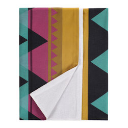 Nine Space - Savanna Beach Towel, Fuschia/Gold Multi - Offering a modern take on a traditional tribal pattern, this towel is beach (or poolside) ready. The smooth, Turkish cotton front has the innate ability to actually repel sand. And, the flip side features soft, terry loops that will wick moisture away from your skin after a dip.