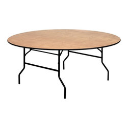 Flash Furniture - 72 in. Round Folding Banquet Table - Thick plywood top with clear coated top. Black t mold edge band. Black powder coated wishbone legs. 18 gauge steel legs. Non marring foot caps. Supplier warranty: Our products have a 2 year warranty for parts. This warrants against defects in manufacturing. If the products are used excessively (more than 8 hours/day), and have excessive weight (over 225 lbs.) applied, the warranty is void. New parts will be sent out, or the item will be replaced at our discretion.. Made from steel and wood. No assembly required. 72 in. Dia. x 30 in. H