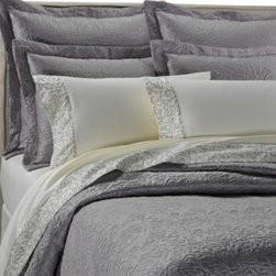 Upstairs Dransfield And Ross - upstairs by Dransfield & Ross Antigua Coverlet - The Antigua coverlet brings an understated elegance to your bedroom with a luxuriously textured quilted scroll pattern on a sleek, silvery grey ground.