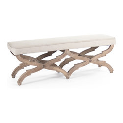 Kathy Kuo Home - French Country Limed Grey Oak Long Dining End of Bed Bench - Take a stylish seat  on the Crescenzo bench.  With a distinctly European accent, this slim line bench's signature detail is in the ornate criss cross legs.
