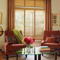 Parkland™ Genuine Real Wood Blinds - Hunter Douglas® Window Treatments - Spruce up any window with the Hunter Douglas Parkland Wood Blinds. This window has beautiful decorative tapes in the center to cover up the cords. Tons of different colors to choose from in decorative tapes.