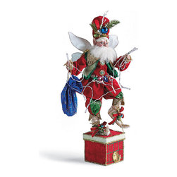 Frontgate - Mark Roberts Christmas Lights Fairy Stocking Holder - With wiring in hand and a smile on his face, our limited-edition Mark Roberts Christmas Lights Fairy decks your mantel with holiday sparkle. The handcrafted design features artist Mark Roberts' exquisite detailing, showcasing an equally effervescent ensemble that shimmers with metallic fabrics, brooch-style buttons, a gemstone belt and crystal cuffs. Perfectly weighted to hold a single stocking . Lights can be strung through his hands or spill out of his blue velvet bag . Heirloom-quality design is a cherished collectible or thoughtful gift . Handcrafted with Mark Roberts' signature detailing, including lined fabrics; an expressive, handpainted face; and sprays of ornaments and greenery on his hat and shoes . Wired arms and legs for a customized pose . Fabric-covered present serves as the base . Arrives in a beautiful gift box . Lights operate on two AA batteries (not included) .