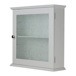 Elegant Home Fashions Connor 1 Door Medicine Cabinet - The Elegant Home Fashions Connor 1 Door Medicine Cabinet will add quietly stylish storage to the bathroom. This engineered wood cabinet in white features a single door with a water textured glass panel. Grab hold of the double plated coordinating door knob to access the single fixed shelf inside. Assembly hardware is included as are instructions and diagrams in several languages.