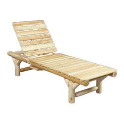 Rustic Natural Cedar - Rustic Natural Cedar 100017 Outdoor Wooden Lounge Chair - This sleek lounge chair features an adjustable back for comfort and a clever slide-out tray to hold a book or beverage. Solid cedar construction ensures years of carefree use. Cedar is also naturally resistant to decay, insect, and weather damage and, when left untreated, the creamy natural color weathers gracefully to a silvery grey.