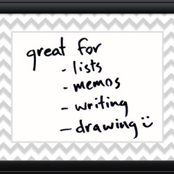Amanti Art - 'Chevron Message Dry-Erase Board - Medium' Framed Art Print 31 x 25-inch - Perfect for writing and drawing, this glass message board works with standard dry erase markers (not included). This Chevron Message Dry-Erase Board is accented by a two tone chevron border and a contemporary black frame with a raised outer edge.
