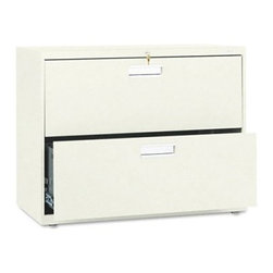 HON 600 Series 36 Inch Two Drawer Lateral File - Perfect for any office, the HON 600 Series 36-Inch Two-Drawer Lateral File keeps all your files and folders safe and secure. This wide file cabinet has two generously sized drawers that hold letter or legal folders. A lock at the top controls all openings, and the mechanical interlock feature allows only one drawer to open at a time to prevent the file cabinet from tipping.Designed for intense daily use, this file cabinet has a three-part telescoping slide suspension, and leveling glides are adjustable for uneven floors. It is available in your choice of putty, black, light gray, or light charcoal finish. Delivered fully assembled. Dimensions: 36W x 19.25D x 28.375H inches.About the HON CompanyHeadquartered in Muscatine, Iowa, the HON Company is established as a leader in the office furniture industry. The HON Company designs and manufactures products including chairs, files, panel systems, tables, and desks. With several national manufacturing facilities, the company provides products through a system of dealers and retailers throughout the United States.As the landscape of today's office and classroom continues to change with new technologies, the HON Company has created office furniture, teacher stations, and student desks that anticipate and adapt to the newest waves of high-tech products. Additionally, in an effort to think and act green, the HON Company uses less packing material, reduces their amount of fabric waste, and uses recycled wood from other furniture.