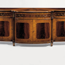 "Inviting Home - Regency Style Inlaid Credenza - Regency style four door credenza with mahogany veneer and crossbanded inlay of satinwood rosewood and ash burl. Three drawers three compartments with one shelf inside carved wood capitals in antiqued goldleaf finish and antiqued brass hardware; 90-1/2""W x 23-3/4""D x 39-1/2""H hand-made in Italy Hand-crafted Regency style four door inlaid credenza. This stunning credenza features mahogany veneer and cross-banded inlay of satinwood rosewood and ash burl. Regency credenza has three inlaid drawers three compartments with one shelf inside carved wood capitals in antiqued gold-leaf finish and antiqued brass hardware. This inlaid credenza is hand-made in Italy."