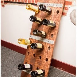 Napa East Wine Barrel Large 20 Bottle Riddling Wine Rack - Lean the Napa East Wine Barrel Large 20 Bottle Riddling Wine Rack against any wall to create a fun and appealing display for your favorite wines. This solid wood riddling rack is handcrafted from a reclaimed white oak wine barrel, while metal wine barrel hoops accent the warm tones of the stained oak wine rack.About Napa EastNapa East creates wine-inspired furnishings that are made from actual reclaimed oak wine barrels. Their barrels began life handcrafted with pride from the finest French and American Oaks, and Napa East continues that theme when they hand-select barrels and giving them new life as beautiful one-of-a-kind works of art.