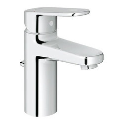 Grohe - Europlus Single Hole Bathroom Sink Faucet - Features: -Bathroom sink faucet.-One faucet hole.-Grohe SilkMove ceramic cartridge.-Pop-up drain.-Single lever handle.-Stainless steel braided flexible supplies.-Quick installation system.-2.2 gpm at 60 psi or 2.5 gpm at 80 psi.-ASME/ANSI A112.18.1M listed.-ANSI/NSF Standard 61 listed.-ADA compliant.-Solid brass construction.-Europlus collection.-Collection: Europlus.-Distressed: No.-Country of Manufacture: Canada.Dimensions: -Overall dimensions: 6.25'' H x 2.75'' W x 9'' D.