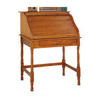 Coaster - Coaster Palmetto Small Roll Top Secretary Desk - Coaster - Secretary Desks - 5301N - Return to a simpler time when correspondence involved pen and paper and computers were just a newfangled contraption that had yet to catch on. This unique desk blends the classic silhouette of a roll top with the compact shape and storage capacity of a secretary. Turned post legs anchor each corner and offer a more elegant alternative to bulkier pedestal bases. A slatted top rolls back to reveal five slots for storing mail and stationery supplies while a smooth rectangular surface provides ample writing surface. Antiqued brass finish knobs and a beautiful golden oak finish complete the vintage appeal of this roll top secretary desk.