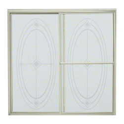 """STERLING PLUMBING - STERLING Deluxe Sliding Bath Door - Height 56-1/4"""", Max. Opening 59-3/8"""" - Enjoy distinctive styling, many glass pattern and texture options, along with dependable, quiet operation.  The Deluxe Framed Sliding doors offer variety to match any decor."""