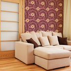 Indian Floral Wall Stencil - Indian Floral Wall Stencil from Royal Design Studio Stencils. This handpainted allover Indian pattern brings warmth to this living room but it would be darling in a girls room, craft room or romantic bedroom.