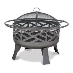 Garden Treasures - Garden Treasures WAD1412SP Black Firebowl w/ Geometric Design - Black Finish with Geometric Design