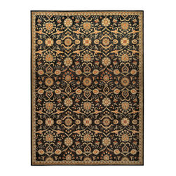 """Kathy Ireland - Kathy Ireland KI12 Babylon BAB01 5'3"""" x 7'5"""" Black Area Rug 24129 - Bewitching tones of black, gold, sky, rose, sky, jade, white and crimson conspire together to lend an air of extraordinary enchantment to a traditional elaborately bordered bloom, blossom and leaf design. With its sublime texture and mesmerizing depth and dimension, this magical rug is truly transporting."""