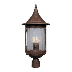 Designers Fountain - Designers Fountain Canyon Lake Traditional Outdoor Post Lantern Light X-NHC-6390 - The cone shaped shade and cylindrical frame give a stylish and whimsical cottage-like appeal to this Designers Fountain outdoor post lantern light. From the Canyon Lake Collection, this charming post light features aged crackle optic glass paired with classic candelabra lights that give it a unique appeal. The Chestnut finish accentuates the whimsical details, pulling the look together.
