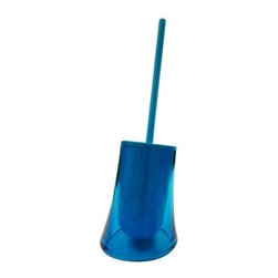 Gedy - Transparent Turquoise Round Toilet Brush Holder - A decorator toilet brush for your designer master bath. Transparent turquoise finished and made in thermoplastic resins, this quality toilet brush & holder is designed and built in in Italy by Gedy and is part of the Gedy Flou collection. Consider this round free stand toilet brush. Designer transparent turquoise toilet brush holder. Modern & contemporary free stand toilet brush. For modern & contemporary settings. From the Gedy Flou collection. Designed and built in Italy.