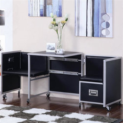 Coaster - LeClair 3-Pc Retractable Table Set - Includes sliding retractable table and two chairs. Contemporary style. Closed unit looks like a normal file cabinet. Drawer for storage. Slide out chairs with padded seats. Metal handle pulls and side accents. Caster wheels. Made from metal. Black color. Table: 23.75 in. L x 23.75 in. W x 28.5 in. H. Warranty