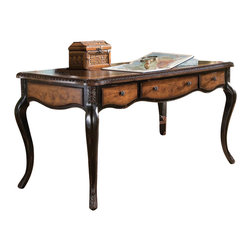 "Hooker Furniture - Hooker Furniture North Hampton Writing Desk - Leather top; drop front keyboard drawer; two utility drawers; one writing insert; ships KD. Keyboard area: 21 9/16W x 18 1/4D - 2 5/16H Knee space: 22 1/2H (low end of curve), 23 7/8H (high end of curve) . Hardwood Solids with Maple Veneers. Dimensions: 60""W x 30""D x 31""H."