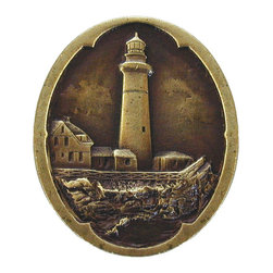 "Notting Hill - Notting Hill Guiding Lighthouse Knob - Antique Brass - Notting Hill Decorative Hardware creates distinctive, high-end decorative cabinet hardware. Our cabinet knobs and handles are hand-cast of solid fine pewter and bronze with a variety of finishes. Notting Hill's decorative kitchen hardware features classic designs with exceptional detail and craftsmanship. Our collections offer decorative knobs, pulls, bin pulls, hinge plates, cabinet backplates, and appliance pulls. Dimensions: 1-1/4"" w x 1-1/2"" h"