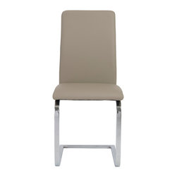 Euro Style - Cinzia Side Chair (Set Of 2) - Taupe/Chrome - A project table, a dining area, anywhere you need a very comfortable side chair think Cinzia. The classic modern colors and cushioned seat make co-workers or dinner guests feel right at home.