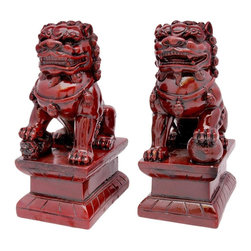 Oriental Unlimted - 6.5 in. Tall Chinese Fu Dog Statues - Chinese mythical guards are part dog and part lion. Male has his left paw resting on a sphere while the female has her right paw resting on a pup. Made of Shou Shan composite resin in a deep Burgundy color. No assembly required. 6.5 in. H x 2.5 in. W x 4 in. D