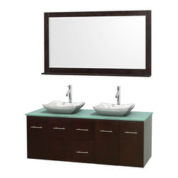 "Wyndham Collection - Centra 60"" Espresso Double Vanity, Green Glass Top, White Carrera Marble Sinks - Simplicity and elegance combine in the perfect lines of the Centra vanity by the Wyndham Collection. If cutting-edge contemporary design is your style then the Centra vanity is for you - modern, chic and built to last a lifetime. Available with green glass, pure white man-made stone, ivory marble or white carrera marble counters, with stunning vessel or undermount sink(s) and matching mirror(s). Featuring soft close door hinges, drawer glides, and meticulously finished with brushed chrome hardware. The attention to detail on this beautiful vanity is second to none."