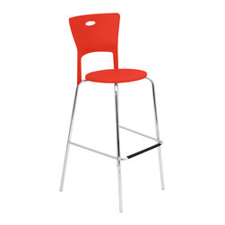 "Lumisource - Mimi Bar Stool, Red - 18"" L x 22"" W x 44.75"" H"