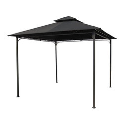 International Caravan - Patio Canopy Gazebo in Black - All weather resistant frame and canopy. Equipped with UV resistant polyester fabric. Assembly required. 118 in. L x 118 in. W x 105 in. H (52 lbs.)Perfect for outdoor settings. Two-tiered canopy adds style as well as function to your new outdoor venue.