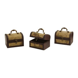 Nearly Natural - Decorative Trunk Chests - Set of 3 - Set of 3. Old-style maps and antique look. Plenty to adorn your home or office space. Brown color. 5.25 in. L x 4 in. W x 5 in. HHere's a timeless decoration that will be certain to please. These wonderful decorative chests would look great if they were plain, but plain they are not. Instead, they are adorned with old-style maps, giving them an antique, classic look of times gone by. There are plenty to go around - put one in your home, another in your office, maybe one in the den... who knows what treasures will reside within.