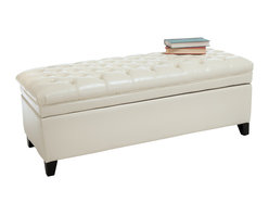 Great Deal Furniture - Barton Leather Storage Ottoman Bench - The Barton ottoman provides extra storage and a well padded top to rest feet after a long day or to seat. Lift up lid for easy to access storage space for pillows and blankets. Give your room an elegant look with the Barton's tufted padded top.