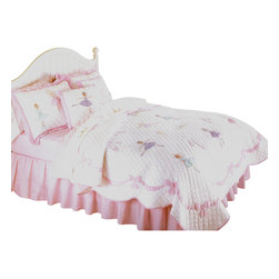 Pem America - Ballet Lessons Full/Queen Quilt with Pillow Shams - Pretty dancing ballerinas for your little dance princess.  Ballet Lessons is the perfect 100% cotton quilt  for your little girl with applique ballerinas with an applique ribbon shaped border on a solid white machine stitched face.  This girls quilt features scalloped edges and is a classic, timeless pattern.  You can complete any girls bedroom with the matching accessories to this pattern. Hand crafted quilt set includes 1 full/queen quilt (86x86 inches) and 2 standard shams (20x26 inches). Face cloth is prewashed 100% natural cotton.  Fill is 94% cotton / 6% other fibers. Hand crafted with embroidery. Machine washable.