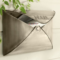 "Envelope Mailbox - Styled like an envelope, this iron mailbox's ""envelope flap"" opens to insert and remove mail."
